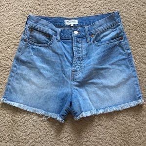 Madewell High Waisted Light Wash Frayed Shorts 28